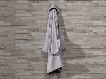Pure Soft Cotton Bathrobe Women Size: L / XL - Grey