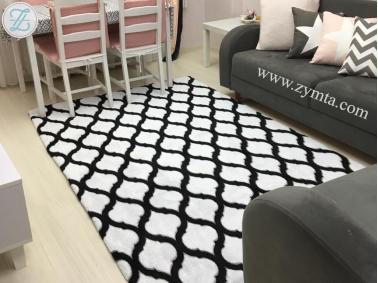 Elastic Carpet Cover Welsoft 80 x 150 cm - Black / White