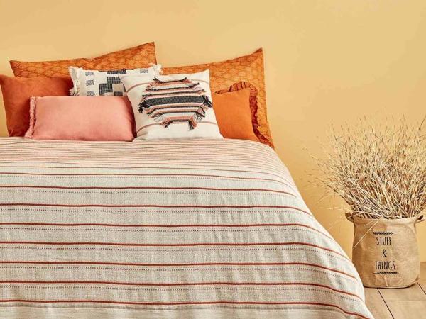 Gala Cotton Tile Double Bedspread 220 x 240 cm - Light Beige / Orange