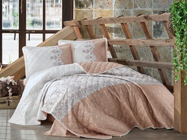 3 Pieces Zemda V2 Double Bedspread Set 240 x 260 cm - Brown