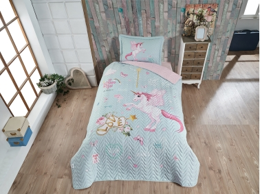 2 Pieces Pegasus V1 Single Bedspread Set 180 x 240 cm - Mint