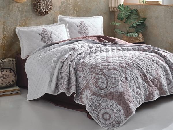 3 Pieces Azka V2 Double Bedspread Set 240 x 260 cm - Brown