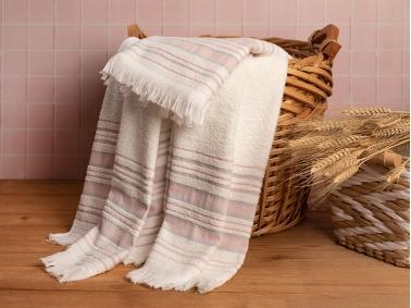 Retro Striped 2 Piece Bath Towel Set 50 x 85 + 75 x 150 Cm - Ecru / Pink