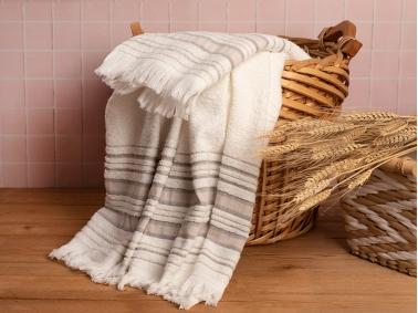 2 Piece Retro Striped Bath Towel Set 50 x 85 cm + 70 x 150 cm - Ecru / Beige