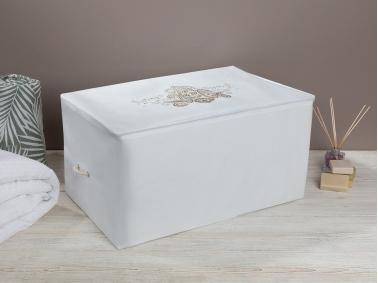 Lace Damask Storage Bag 64 x 41 x 35 Cm - White