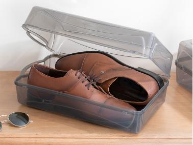 Loya Plastic Women Shoe Storage Box 33 x 18 x 10 cm - Anthracite