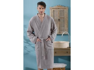Plain Cotton Men's Bathrobe (S - M) - Dark Grey