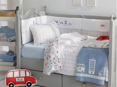 3 Pieces Mini Cars Cotton Baby Duvet Cover Set 100 x 150 Cm - Blue