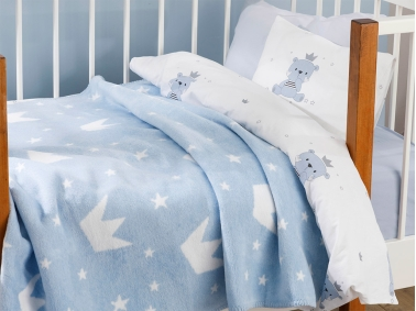 Mini Crown Cotton Baby Blanket 100 x 120 Cm - Blue