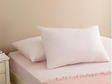 Plain Cotton 2 x Pillowcase 50 x 70 Cm - Powder Pink