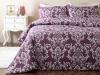 3 Pieces Ornamental Damask Cotton Double Duvet Cover Set 200 x 220 Cm - Plum