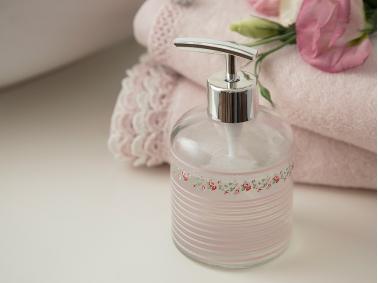 Allure Rosa Glass Bathroom Liquid Soap Dispenser  8 x 14 Cm - Silver