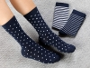 Colorful Cotton Women's Socks Standard - White / Navy Blue