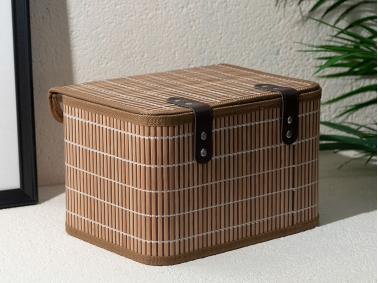 Hardwood Bamboo Storage Box 28 x 20 x 18 Cm - Coffee