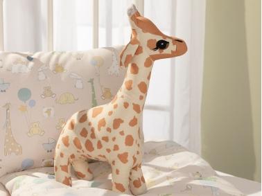 Mini Giraffe Decorative Pillow 40 x 20 Cm - Beige