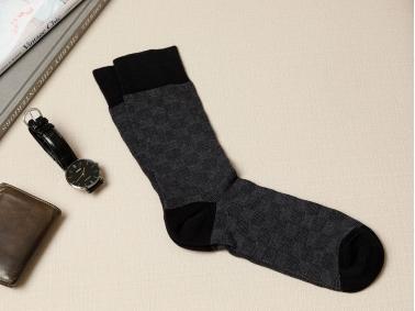 Square Cotton Men Socks - Black