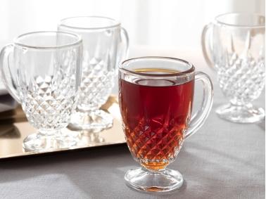 Rich Glass 4-Handleds Tea Cups 150 Ml - Transparent