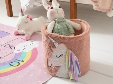 Unicorn Toy Basket 40 x 26 Cm - Pink