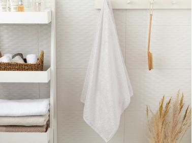 Leafy Bamboo Bath Towel 70 x 140 Cm - White