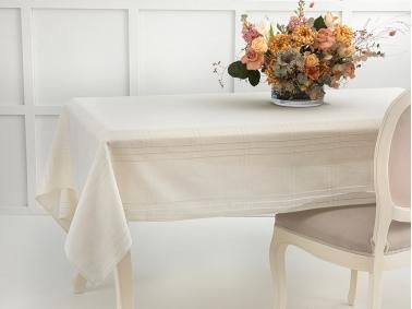 Navy Polyester Openwork Tablecloth 150 x 200 Cm - Cream