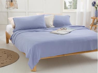 3 Pieces Cool Stripe Soft Touch Double Pique Set 200 x 220 Cm - Light Blue
