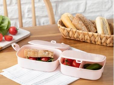 Trendy Plastic 3 Compartments Lunch Box 15 x 10 Cm - Powder