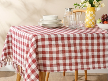 Plaid Cotton Polyester Tasseled Table Cloth 150 x 200 Cm - Claret Red