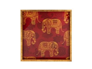 Zilonis Burgundy Elephant Square Tray 40 x 40 cm