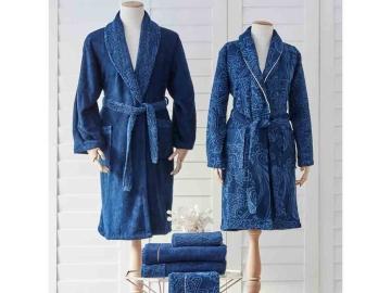 6 Pieces Venita Family Bathrobe Set S-M / L-XL - Navy / Dark Blue