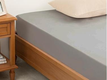 Plain Cotton Single Fitted Sheet 100 x 200 Cm - Grey