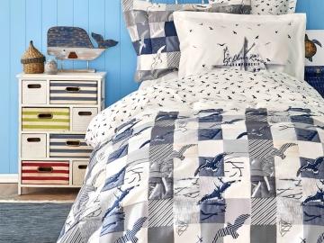 5 Pieces Veta Cotton Single Duvet Cover Set 160 x 220 cm  With Bedspread - Navy Blue / White