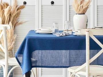 7 Pieces Wilbur Table Cloth with Napkins 160 x 220 cm - Navy