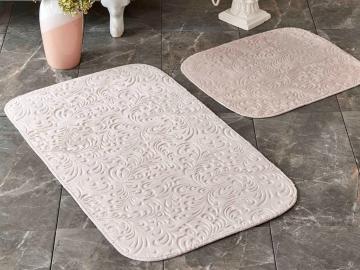 2 Pieces Delora Bath Mat Set 60 x 90 cm + 45 x 60 cm - Powder