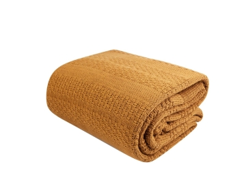 Charm Bold Double Knitted Blanket 200 x 240 cm - Mustard