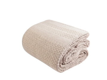 Charm Bold Double Knitted Blanket 200 x 240 cm - Beige