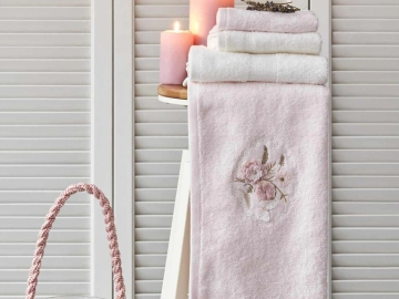 4 Pieces Goldie Embroidered Towel Set - Off white / Powder