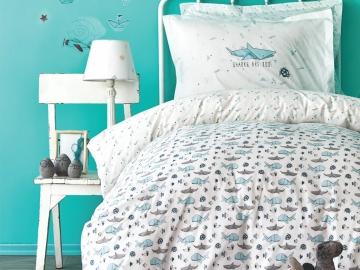 3 Pieces Shark Cotton Young  Single Duvet Cover Set 160 x 220 cm - Turquoise
