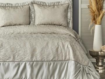 3 Pieces Plazzo King Bedspread Set 260 x 270 cm - Silver