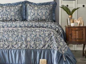 3 Pieces Plazzo King Bedspread Set 260 x 270 cm - Indigo