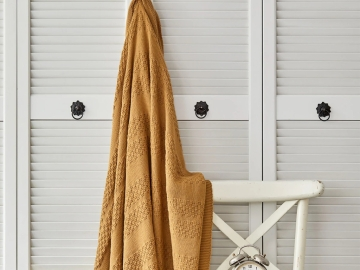 Charm Bold Double Knitted Blanket 200 x 220 cm - Mustard
