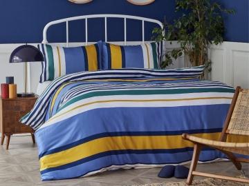 2 Pieces Dover Cotton Single Duvet Cover set 160 x 220 cm - Blue / Green / Yellow