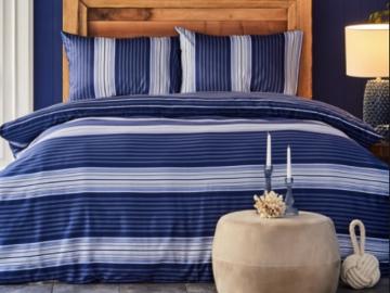2 Pieces Nau Moby Cotton Single Duvet Cover set 160 x 220 cm - Blue