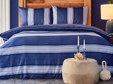 3 Pieces Moby Cotton Double Duvet Cover Set 200 x 220 cm - Blue