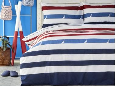 2 Pieces Fınn Cotton Single Duvet Cover Set 160 x 220 cm - Red/White/Blue