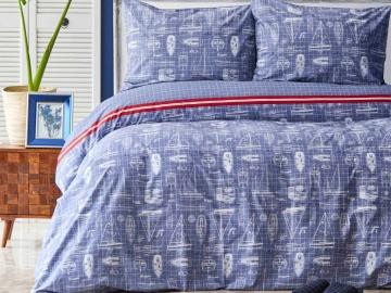 3 Pieces Marisol Cotton Double Duvet Cover Set 200 x 220 cm - Blue