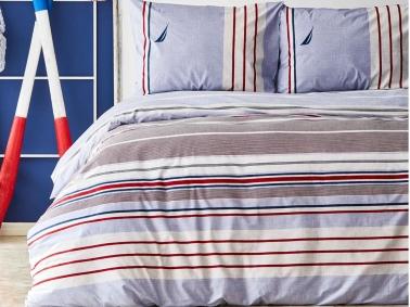 2 Pieces Sailboat Cotton Single Duvet Cover Set 160 x 220 cm - Blue