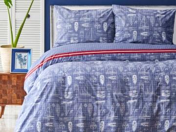2 Pieces Marisol Cotton Single Duvet Cover Set 160 x 220 cm - Blue