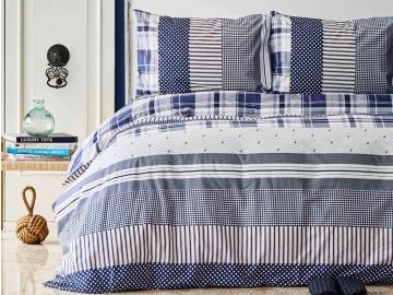 2 Pieces Plaid Cotton Single Duvet Cover Set 160 x 220 cm - Blue