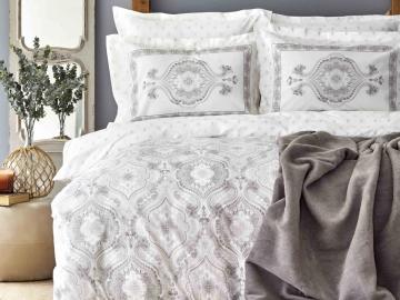 5 Pieces Arlen Double Duvet Cover Set 200 x 220 cm With Blanket - Grey