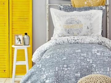 5 Pieces Chemistry Cotton Single Duvet Cover Set 160 x 220 cm  With Bedspread - Grey